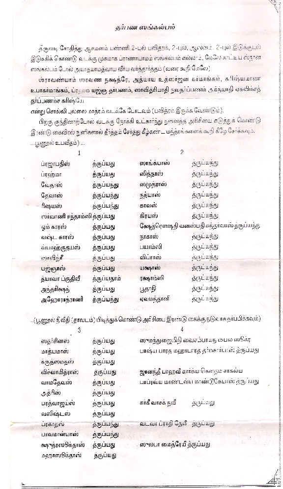 Rig Veda Avani Avittam Sankalmpam 15 08 2019